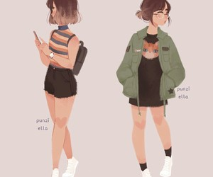 art, girl, and outfit image