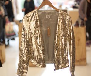 fashion, jacket, and gold image