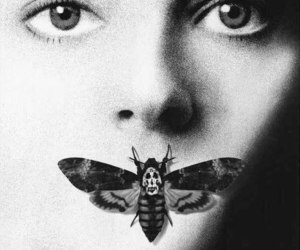 b&w, horror, and moth image