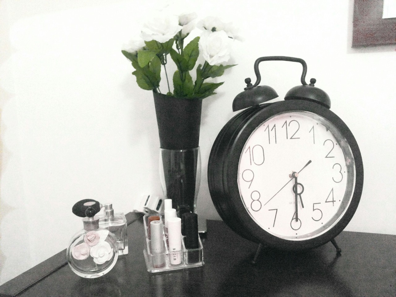 clock, flowers, and Valentino image