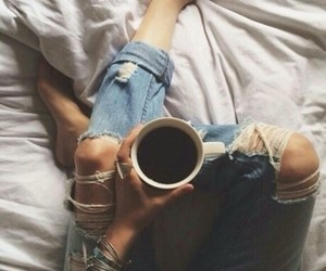coffee, jeans, and bed image