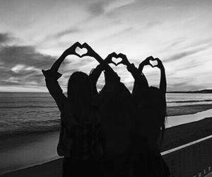 friends, sunset, and friendship image