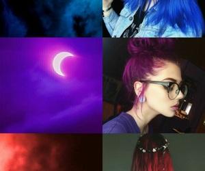 Bleu, cheveux, and filles image