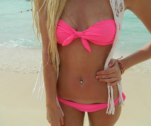 beach, blonde, and bikini image