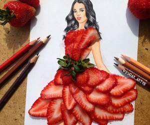 art, girl, and strawberry image