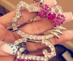 hello kitty, pink, and nails image