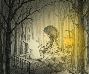 book, rabbit, and friends image