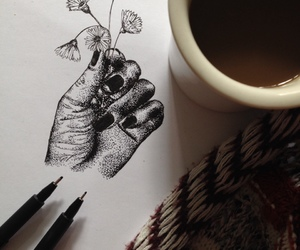 beautiful, hand, and black and white image