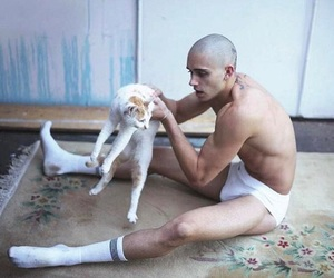 cat, shaved head, and grunge boy image