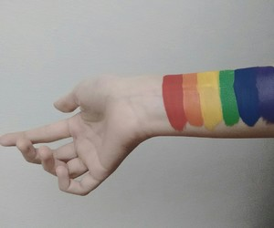 rainbow, hand, and paint image