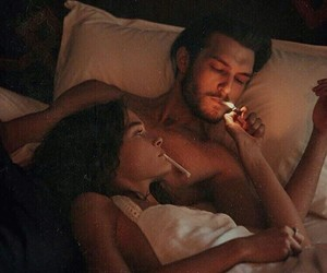 love, couple, and cigarette image
