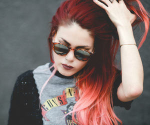 fashion, red hair, and sunglasses image