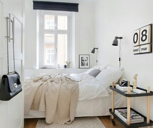 bedroom, interior, and white image
