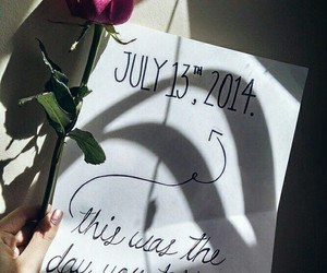 flower, handwritting, and Letter image