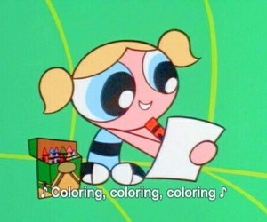 bubbles, cartoon, and powerpuff girls image