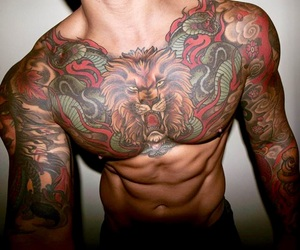 inked, lion, and abbs image