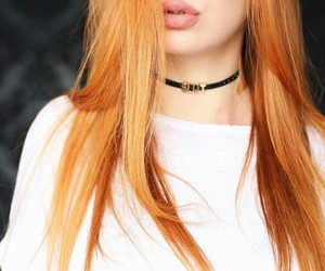 white t-shirts, black choker necklace, and long straight red hair image