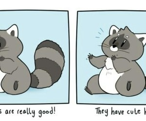 drawing, racoons, and cute image
