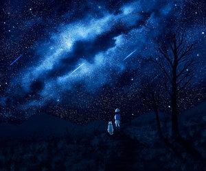 blue, milky way, and night sky image