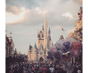 balloons, castle, and cinderella image