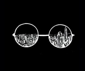 wallpaper, black, and glasses image
