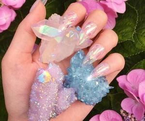 crystal, nails, and pink image
