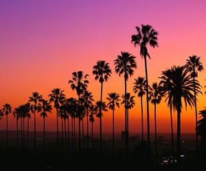 california, sunset, and los angeles image