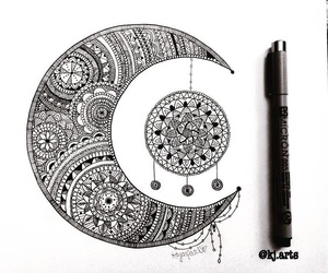 black and white, mandala, and art image