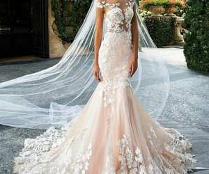 bride, lace, and dress image