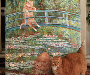 cat, art, and painting image