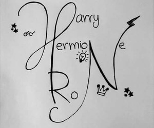 drawing, harry potter, and hermione granger image