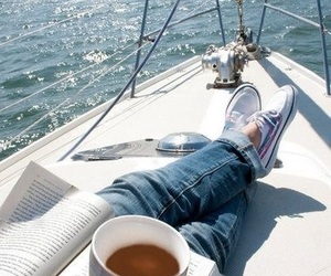 book, coffee, and boat image