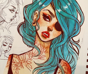 art, blue, and illustration image