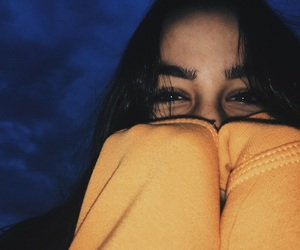 blue, hoodie, and brunette image