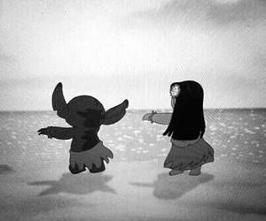 stitch, lilo, and black and white image