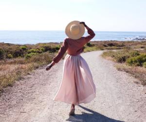 girl, pink, and sea image
