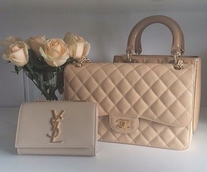 bags, beige, and roses image
