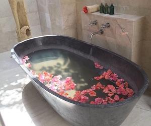 art, bathtub, and flower image