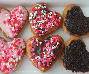 donuts, food, and hearts image
