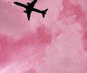 airplanes, pink, and pink clouds image