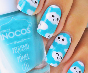 nails, clouds, and blue image