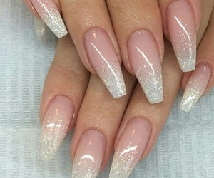 glitter, pink, and ombre nails image