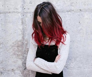 girly, hair, and red image