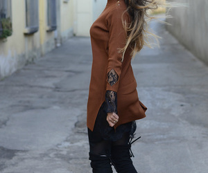 outfit, ootd, and knee high boots image