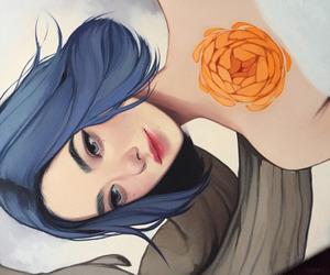 art, blue hair, and flower image