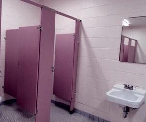 pink, bathroom, and theme image