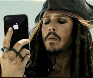 iphone, johnny depp, and jack sparrow image