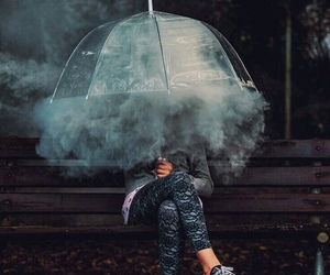 photography, smoke, and umbrella image