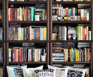 book, bookshelf, and library image