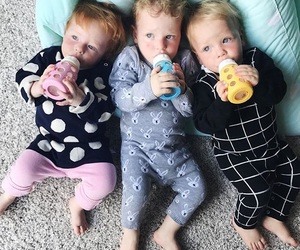 baby, family, and triplets image